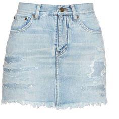 Saint Laurent Distressed denim mini skirt ($611) ❤ liked on Polyvore featuring skirts, mini skirts, saias, short blue skirt, ripped skirt, yves saint laurent, blue skirt and mini skirt