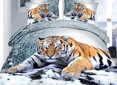 Tiger Lying in Snow Print 4-Piece Cotton Duvet Cover Sets