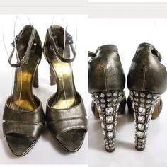 Miu miu bronze jeweled peep toe heels SZ 49 Bronze peep toe jeweled heels with ankle strap Miu Miu Shoes Heels
