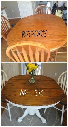 How to give your wood table a complete shabby chic makeover using wood stain and Annie Sloan chalk paint #Furniture
