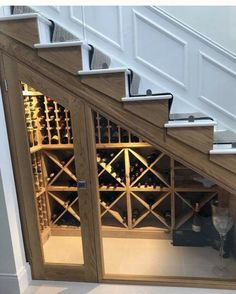 Bespoke wine racking for under stairs wine storage, perfect for any home re-design or makeover! Made from hand in the UK using Pine, this wine cellar can store up to 350 bottles. Staircase Storage, Stair Storage, Staircase Design, Basement Stairs, Basement Flooring, Basement Remodeling, Narrow Basement Ideas, Basement Carpet, Space Under Stairs