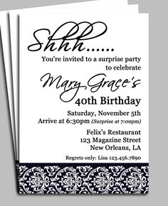 Black Damask Surprise Party Invitation Printable By ThatPartyChick 40th Birthday Wording Invitations
