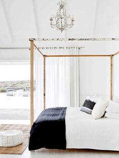 All White And Weatherboard With Vaulted Ceilings Wood Floors Natural Timbe Pacific Home Furniture Coastal Bedroom