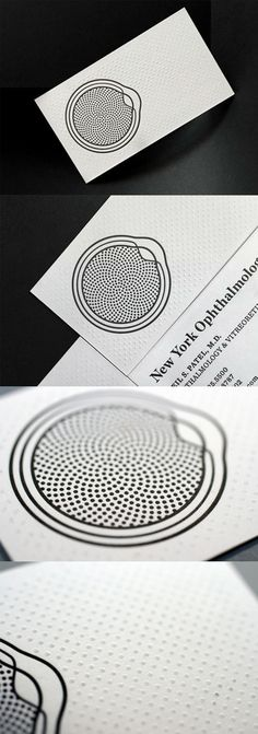 Black And White Textured Letterpress Business Card For An Ophthalmologist