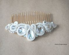 Peine del pelo del soutache joyería nupcial blanco por JaneEJewelry