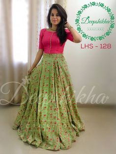 Buy Pink & Green Embroidered Banglori Silk Lehenga Choli online in India at best price. Party wear lehenga choli combination to woo the on lookers. Half Saree Designs, Lehenga Designs, Saree Blouse Designs, Dress Designs, Indian Designer Outfits, Indian Outfits, Designer Dresses, Long Gown Dress, Lehnga Dress