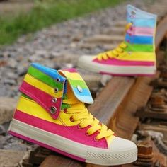 Rainbow Sneakers Canvas High X Mid Multicolor Shoes | Rainbow nike shoes/Air Force One Rainbow Sneaker/Converse rainbow shoes