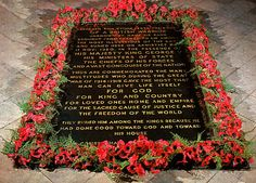 The Unknown Warrior is buried in Westminster Abbey as a memorial to the dead of World War One. At 11 o'clock there was a two-minute silence, and the body was then taken to Westminster Abbey where it was buried at the west end of the nave.   The text inscribed on the tomb is taken from the bible (2 Chronicles 24:16): 'They buried him among the kings, because he had done good toward God and toward his house.'