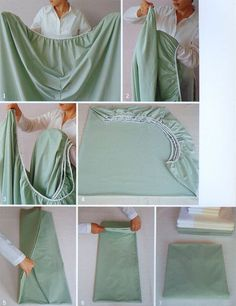 Folding fitted sheets -- this is something most of us don't do well -- now we can!