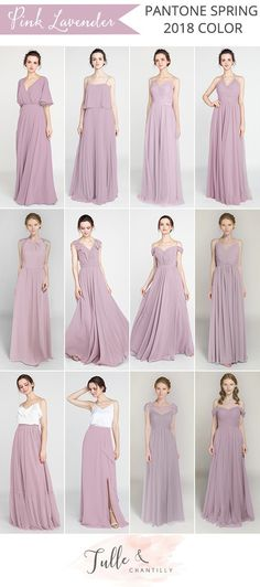 pantone 2018 spring color pink lavender bridesmaid dresses