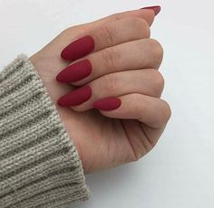A manicure is a cosmetic elegance therapy for the finger nails and hands. A manicure could deal with just the hands, just the nails, or Cute Red Nails, Red Matte Nails, Red Acrylic Nails, Red Nail Art, Gorgeous Nails, Fun Nails, Matte Nail Polish, Almond Nails Red, Matte Pink