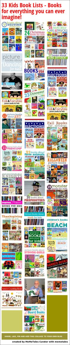 33 Kids Book Lists  - Books for everything you can ever imagine! kid books, book lists, ultimate reading list learn, books to read to kids, books and activities, book activities, books for kids to read, children books, reading tools for kids