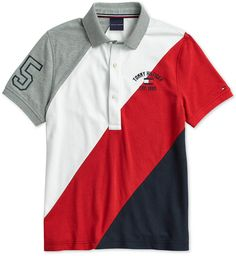 Tommy Hilfiger Adaptive Men's Stripe Polo with Magnetic Buttons - Gray XXL Polo Rugby Shirt, Polo T Shirts, Boys Shirts, Camisa Polo, Bold Stripes, Dresses With Leggings, Swagg, Tommy Hilfiger, Men Casual