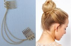 Gold Leaves Multi Chain Hair Combs 68% off at Groopdealz