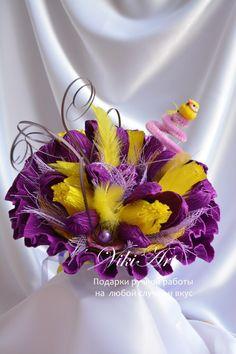 Букетик с птичкой в любимых жёлто-фиолетовых тонах!
