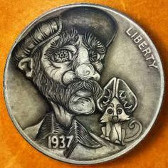 Intricate Hobo Nickel Sculptures - (by Schipp - Old Coins, Rare Coins, Sculpture Art, Sculptures, Hobo Nickel, Coin Art, Black Sharpie, Gold Bullion, Family Album