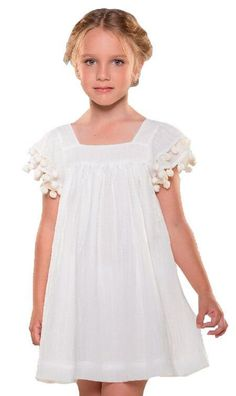Vestido de algodão Infantil branco Madrepérola Liso - que te encante!