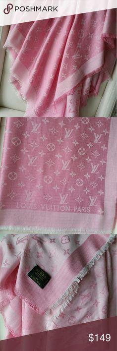 Louis vuitton scarf 2 tone, pink and white. In great condition, except for a few snags and pull as shown on the last pictures.  No box, No receipt included.   Made of Silk & Wool. Please Dry Clean only or you will ruin the scarf. A beautiful shawl but very sensitive.   From a smoke free and animal free home.   No international shipping. Will only ship within USA except for Hawaii and Alaska.   NO RETURNS Louis Vuitton Accessories Scarves & Wraps