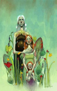 2 and 3 generations of women (illustration of Ericka Lugo ) Wiccan, Magick, Witchcraft, Maiden Mother Crone, Ange Demon, Triple Goddess, Sacred Feminine, Illustration Art, Images
