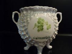 Victorian Porcelain Souvenir Ireland Pot O Gold Four Leaf Clover Like Belleek