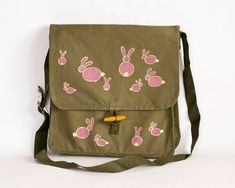 Vintage Military Bag with Hand-painted Pink Rabbits