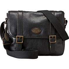 Fossil Leather Estate E/w City Bag Black - Fossil Men's Bags