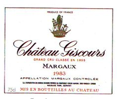 Chateau Giscours Margaux 1983 France Wine Label
