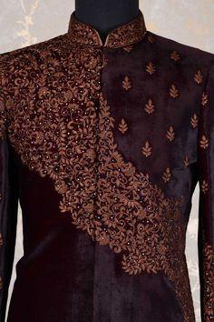 Wedding Sherwani-Deep Maroon-Thread Work-SH280 Groom Outfit, Groom Dress, Wedding Sherwani, Thread Work, Online Work, Deep, Blouse, Grooms, Stuff To Buy