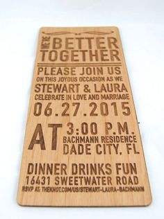"""4x9"""" Alder Wood Invitations with engraving. #wedding #specialevents #wood #invitations #unique"""