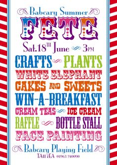 Penkridge church summer fete poster 2015. Using Frontage font by ...