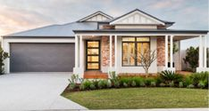 View Our Range Of New & Luxury Display Homes Hamptons Style Decor, Hamptons House, House Paint Exterior, Exterior House Colors, Facade House, House Facades, House Exteriors, Modern Front Yard, Australia House