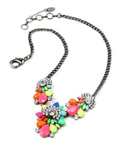 Take a look at this Pink Austrian Crystal Goa Beach Bib Necklace today!
