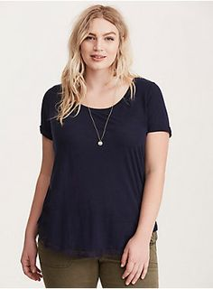 """<div>We all love our basic tees...but sometimes it's fun to mix it up. This navy knit scoop neck tee looks like a forever-favorite, with a brushed lived-in feel that'll make you want to hit repeat. Eyelash lace trim along the hem upgrades the look to """"wear on a date"""" status.</div><div><br></div><div><b>Model is 5'10"""", size 1</b></div><div><ul><li style=""""list-style-position: inside !important; list-style-type: disc !important"""">Size 1 measures 31"""" from shoulder</li><li style=""""list-..."""