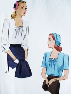 1940s FILM NOIR Blouse Pattern McCALL 5670 Two Lovely WW II Styles Bust 36 Vintage Sewing Pattern