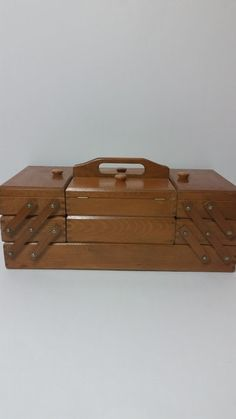 Beautiful Vintage Accordion Wooden Sewing Box