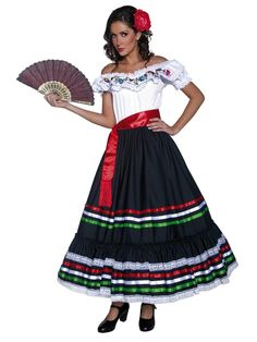 There is no need to go south of the border to embrace international culture when flaunting our authentic Western Senorita Adult Costume. It will have you bringing festive flair to your next fiesta. Our women's authentic Western Senorita Costume includes a long off-the-shoulder dress featuring white bodice with colorful Spanish-inspired artwork along the neckline and black skirt with red, white and green ribbon trim and a red waist sash belt with fringe hem. Serve up drinks to the Mexican…