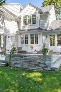This colonial style home was completely transformed by LDa Architecture & Interiors, located in the suburbs of Needham, Massachusetts. Wood Design, Colonial Style Homes, House Design Photos, Decoration Inspiration, White Houses, Country, Beautiful Homes, Outdoor Living, Interiors