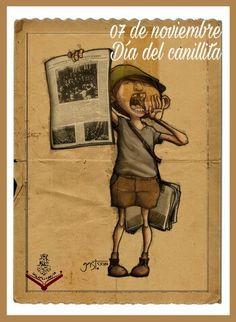 """ElDía del Canillitacomenzó a festejarse hace 65 años -el 7 de noviembre de 1947- en memoria de la muerte del dramaturgo uruguayo Florencio Sánchez, autor del sainete """"Canillita"""", cuyo personaje era un chico que voceaba diarios por la calle. Baseball Cards, Cool Stuff, Ideas, Diaries, November, Frida Kahlo, Positive Quotes, Character, Death"""