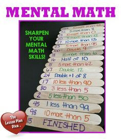 MENTAL MATH SKILLS popsicle stick games, learning games, math skill, mental maths, classroom math charts, maths classroom, math fact games, math facts games, mental math games
