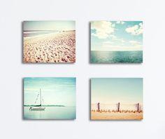 Beach Canvas Set - four coastal photography canvas gallery wraps light blue aqua teal beige cream ocean nautical wall art canvas print set by CarolynCochrane on Etsy https://www.etsy.com/listing/166265117/beach-canvas-set-four-coastal