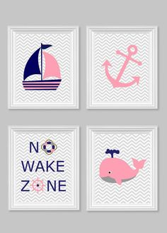 Nautical Prints Baby Decor No Wake Zone Whale Ship Wheel Nautical Nursery Art Gray Navy Pink Ocean Nautical Nursery Decor Fish Baby Shower