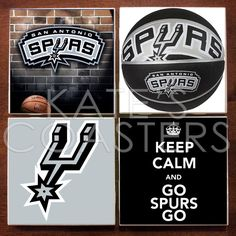 Set of 4 San Antonio Spurs basketball ceramic tile coasters, by KatesCoasters, $10.00