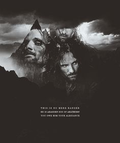 """Aragorn threw back his cloak. The elven-sheath glittered as he grasped it, and the bright blade of Anduril shone like a sudden flame as he swept it out. 'Elendil!' he cried. 'I am Aragorn son of Arathorn, and am called Elessar, the Elfstone, Dunadan, the heir of Isildur Elendil's son of Gondor. Here is the Sword that was Broken and is reforged again! Will you aid me or thwart me? Choose swiftly!"""