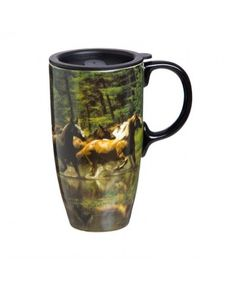 Evergreen Horse Play Ceramic Latte 17oz Travel Cup with Gift Box