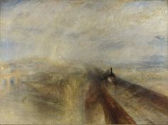 [p. 43] Joseph Mallord William Turner (British, 1775 - 1851). Rain, Steam, and Speed - The Great Western Railway, 1844. Oil on canvas;  91 x 121.8 cm. London: National Gallery, NG538. Found by: Prof. De Young