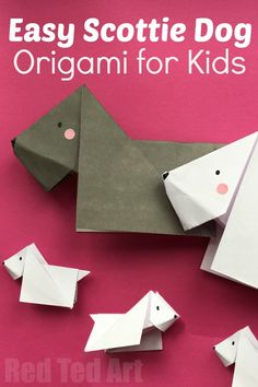 Dog DIY - easy dog origami for kids! We love these darling paper Scotties. They are super duper cute and EASY to make. Great for dog lovers. Learn how to make this easy origami for kids today. Love love love cute dog origami!
