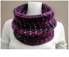 Enchanted Infinity Cowl, free crochet pattern for this fun chunky cowl can be found at cre8tioncrochet
