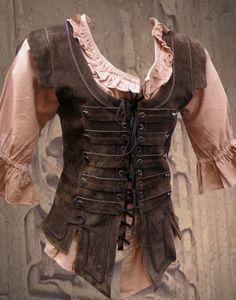KOSTÜMTRUHE | Verkauf & Versandhandel, mittelalterliche Kleidung, Kostüme & Gewandungen, Zubehör aus Ritterzeit und Piratentum - Piratenmieder Lederweste braun