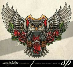 Design idea for chest owl heart and roses