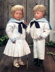 The Pup in the Ruffled Cap, The Boy in Papa's Shoe: 77 Pair,American Wooden Characters by Schoenhut in Matching Original Costumes